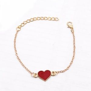 Jewelry - 🔥2 for $15🔥 RED Heart Gold Tone Bracelet